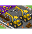 Isometric Yellow Excavator in Rear View vector image