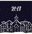 New Year and Christmas card with houses in vector image