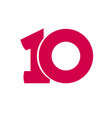 number 10 symbol simple ten text isolated vector image