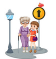 Grandmother and kid crossing the street vector image