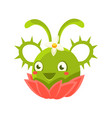 cute fantastic green succulent plant character vector image vector image
