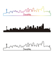 Seattle skyline linear style with rainbow vector image vector image