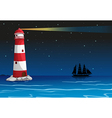 A lighthouse in the middle of the ocean vector image vector image