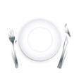 Empty plate with broken cutlery vector image
