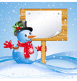 snowman with sign vector image vector image