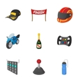 Association of racers icons set cartoon style vector image