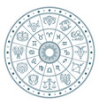 astrology horoscope circle with zodiac signs vector image