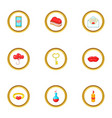 present icons set cartoon style vector image
