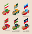 set of isometric ships with flags vector image