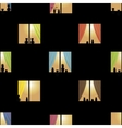 Multicolor night town windows seamless pattern vector image