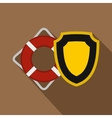 Lifebuoy and yellow safety shield icon flat style vector image