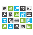 Silhouette Real Estate business Icons vector image vector image