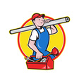 Plumber With Pipe Toolbox Cartoon vector image vector image