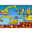 Yellow Excavator in Five Orthogonal Position vector image