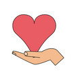 color image hand holding a heart vector image