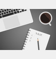 worktable top view with laptop coffee vector image vector image