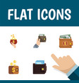 flat icon purse set of money payment billfold vector image