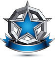 Renown silver star with wavy ribbon placed in a vector image