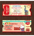 Circus show two vintage tickets set vector image