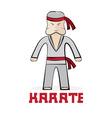 cartoon karate young man vector image