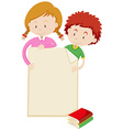 Border design with children and books vector image
