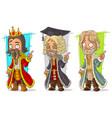 cartoon medieval king judge character set vector image