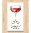Hand drawn cocktail with cherry vector image
