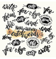 Hand lettered catchwords drawn with ink and vector image