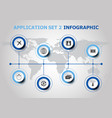 infographic design with application icons set 2 vector image