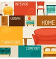 Interior background with furniture in retro style vector image
