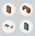 isometric furnishing set of table chair cabinet vector image