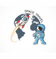 rocket and astronaut vector image