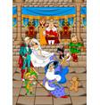 royal family and magician vector image