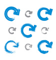 Set of hand-painted blue update signs isolated on vector image
