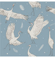 seamless pattern with white cranes vector image