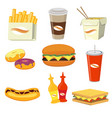 fast food meals and drinks flat icons vector image
