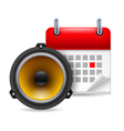 Sound speaker and calendar vector image