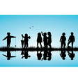 Group of children silhouettes playing outdoor near vector image vector image