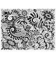 monochrome Doodle Floral Pattern vector image vector image