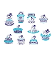 Summer holidays retro emblems and logo vector image