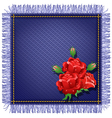 Napkin from jeans fabric with fringe vector image vector image