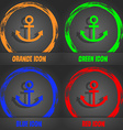 Anchor icon Fashionable modern style In the orange vector image
