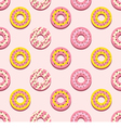 Seamless Pattern Different Style Strawberry Donuts vector image