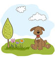 spring greeting card with dog vector image