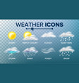weather icons set sunny cloudy storm vector image