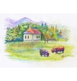Watercolor rural green summer day village vector image