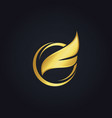 fly wing gold logo vector image