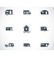 black trailer icons set vector image