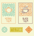 tea packaging labels and badges in trendy linear vector image