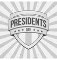 Presidents Day Shield on striped grunge Background vector image